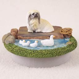 "Pekingese Candle Topper Tiny One ""A Day on the Lake"""