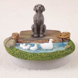 "Weimaraner Candle Topper Tiny One ""A Day on the Lake"""
