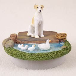 "Whippet Tan & White Candle Topper Tiny One ""A Day on the Lake"""