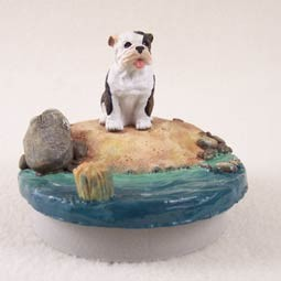 "Bulldog Brindle Candle Topper Tiny One ""A Day on the Beach"""