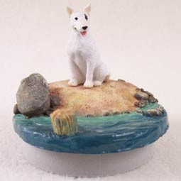 "Bull Terrier Candle Topper Tiny One ""A Day on the Beach"""