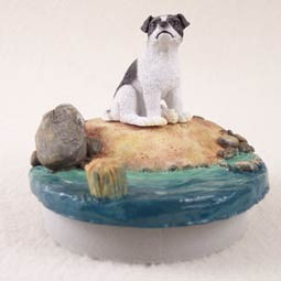"Jack Russell Terrier Black & White w/Smooth CoatCandle Topper Tiny One ""A Day on the Beach"""