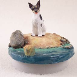 Rat Terrier Candle Topper Tiny One 'A Day on the Beach'