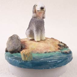 "Bedlington Terrier Candle Topper Tiny One ""A Day on the Beach"""
