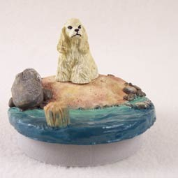 "Cocker Spaniel Blonde Candle Topper Tiny One ""A Day on the Beach"""