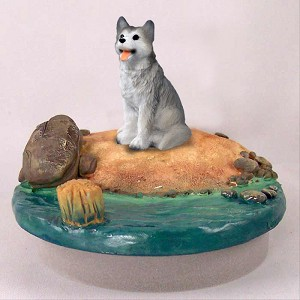 "Husky Gray & White w/Brown Eyes Candle Topper Tiny One ""A Day on the Beach"""
