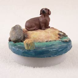 "Dachshund Red Candle Topper Tiny One ""A Day on the Beach"""