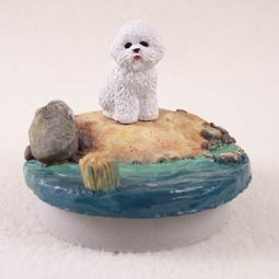 "Bichon Frise Candle Topper Tiny One ""A Day on the Beach"""