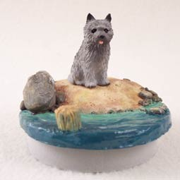 "Cairn Terrier Gray Candle Topper Tiny One ""A Day on the Beach"""