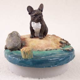 "French Bulldog Candle Topper Tiny One ""A Day on the Beach"""