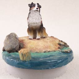 "Australian Shepherd Tricolor Candle Topper Tiny One ""A Day on the Beach"""