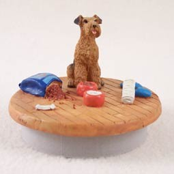 "Airedale Candle Topper Tiny One ""A Day at Home"""