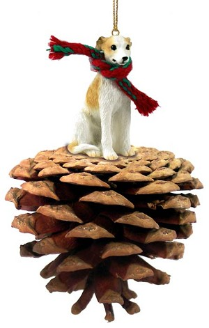 Whippet Tan & White Pinecone Pet Ornament