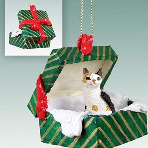 Tortoise & White Japanese Bobtail Gift Box Green Ornament