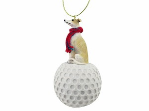 Greyhound Tan & White golf Ornament
