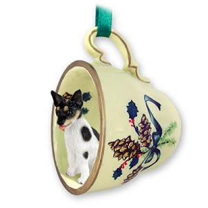 Rat Terrier Tea Cup Green Holiday Ornament