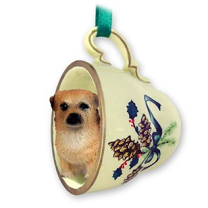Tibetan Spaniel Tea Cup Green Holiday Ornament