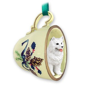 Samoyed Tea Cup Green Holiday Ornament