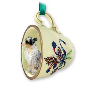 Australian Shepherd Blue w/Docked Tail Tea Cup Green Holiday Ornament