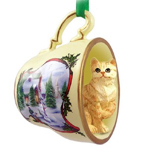 Red Shorthaired Tabby Cat Tea Cup Snowman Holiday Ornament