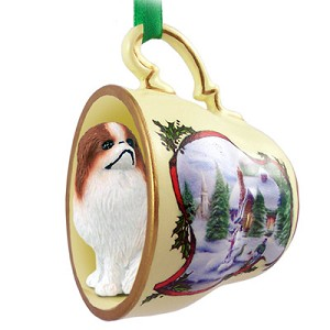 Japanese Chin Red & White Tea Cup Snowman Holiday Ornament