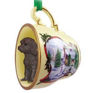 Labradoodle Chocolate Tea Cup Snowman Holiday Ornament