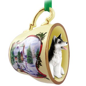Husky Black & White w/Brown Eyes Tea Cup Snowman Holiday Ornament