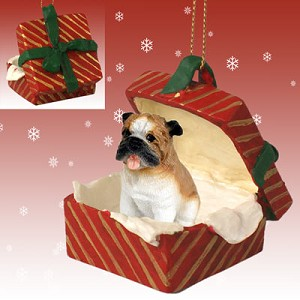 Bulldog Gift Box Red Ornament