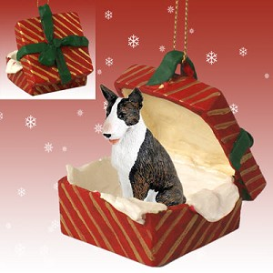 Bull Terrier Brindle Gift Box Red Ornament