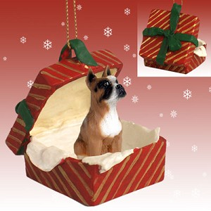 Boxer Gift Box Red Ornament
