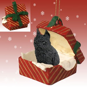 Brussels Griffon Black Gift Box Red Ornament