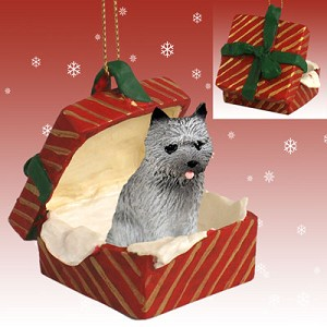 Cairn Terrier Gray Gift Box Red Ornament