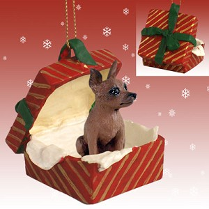 Miniature Pinscher Red & Brown Gift Box Red Ornament