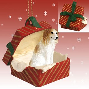 Borzoi Gift Box Red Ornament