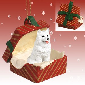 American Eskimo Gift Box Red Ornament