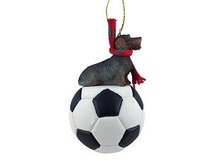 Wire Haired Dachshund Soccer Ornament