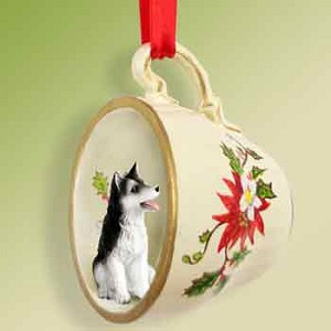Husky Black & White w/Brown Eyes Red Holiday Tea Cup Ornament