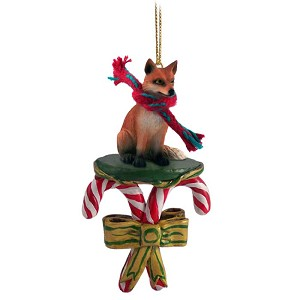 Fox Red Candy Cane Ornament