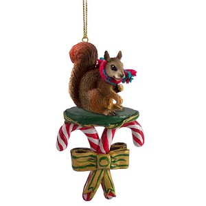 Squirrel RedCandy Cane Ornament