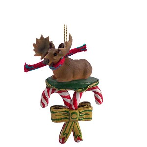 Moose Bull Candy Cane Ornament