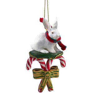 Rabbit White Candy Cane Ornament