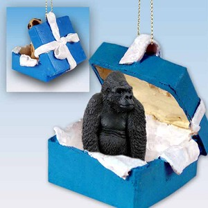 Gorilla Gift Box Blue Ornament