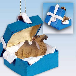 Camel Bactrian Gift Box Blue Ornament