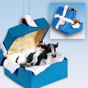 Holstein Bull Gift Box Blue Ornament