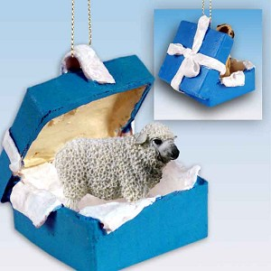Sheep White Gift Box Blue Ornament