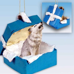 Wolf Gray Gift Box Blue Ornament