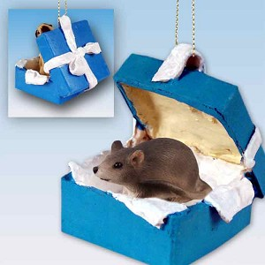 Mouse Gift Box Blue Ornament