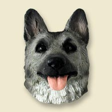German Shepherd Black & Silver Doogie Head