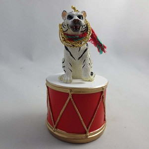 Tiger White Drum Ornament