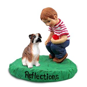 Boxer Brindle w/Uncropped Ears Reflections w/Boy Figurine